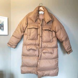 Long padded winter duck down coat
